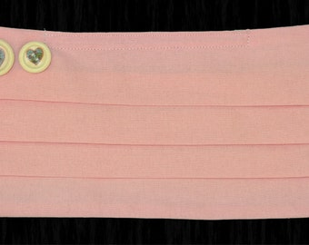 Medical Face mask, pink cotton, Heart buttons, pleated, washable, quality product, Mouth mask, by Mouthshutters