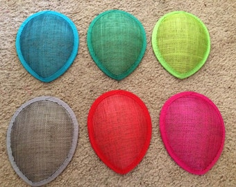 4 inch wide Teardrop Sinamay Fascinator Hat Base for Millinery & DIY Hats - choose you color - 1 piece