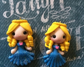 1 piece of New Cinderella Polymer Clay Charm Bead Scrapbooking Embelishment Bow Center Pendant Cupcake Topper