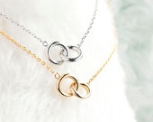 Double Ring Necklace, Gold / Silver, Infinity Eternal Interlinked Hoop Circle Charm, ej