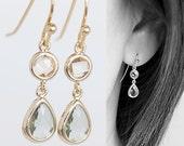 Tiny Gold Teardrop Dangle Earrings, Champagne Pink Grey Drop, Wedding Jewelry, wj