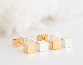 Gold Vermeil / Sterling Silver Tiny Cube Stud Earrings, Geometric Minimalist Inspired, PM GJ