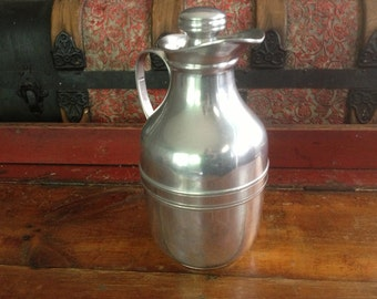 1940s English Thermos Limited London Retro Silver Thermos Jug Bottle Coffee Server Carafe