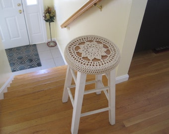Crochet Bar Stool Cover/Cozy - oatmeal (CBSC2A)