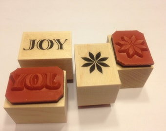 set of Joy and poinsettia stamp , 17-20 mm (JJ)