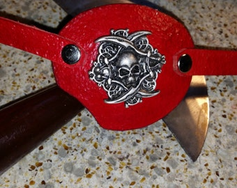 hand made leather eye patch with skull and swords