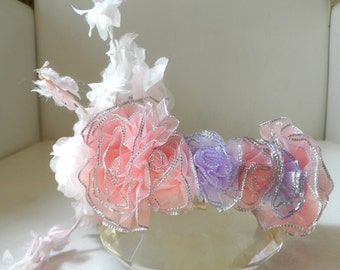 Couture dog collar. Lilac and pink net silver dusted flowers with white bouquet  flower design.