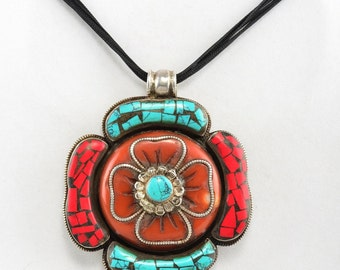 Spectacular solid silver coral turquoise nepal large medallion necklace