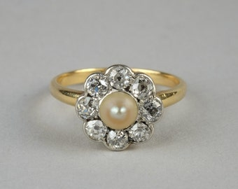 For ever beautiful Victorian natural pearl and 1.40 Ct old cut diamond ring