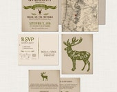 Rustic Forest Mountain Wedding Invitation Suite The Hunt is Over  Rustic invitation Deer Doe vintage map Deposit Payment