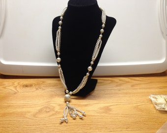 Vintage White Faux Pearl Beaded Necklace