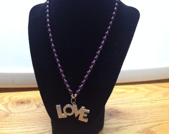 Vintage Purple Beaded Necklace with Silvertone LOVE Pendant