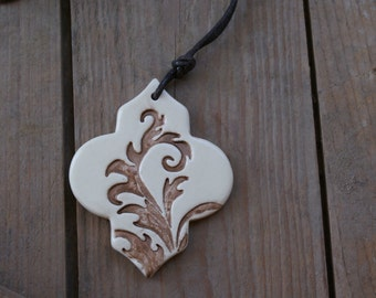 Bronze Ceramic pendant necklace with dark brown waxed cotton