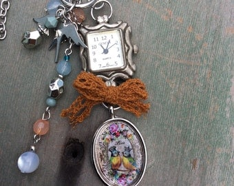 Time for Love Necklace/Long Necklace/Boho/Cottage Chic