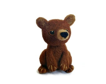 Felted Amigurumi Bear, Needle Felted Brown Grizzly Bear Sculpture