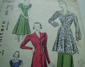 Vintage 1940's Simplicity 2832 Dress or Housecoat Sewing Pattern, Bust 32