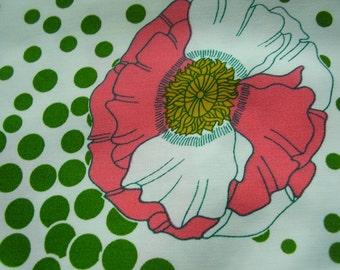 Vintage 1970's Cotton Blend Flower Power Bright Color Fabric, 2 yards plus