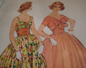 Vintage 1950's McCall's 4868 Dress and Bolero Sewing Pattern, Size 16, Bust 36