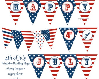 4th of July printable bunting flags - DIY - patriotic banner - blue white red -instant download