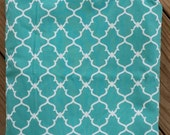 Stylish Turquoise and White. Quatrefoil. Wet/Dry Bag or Swimsuit Bag and Eco-Friendly