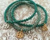 Stackable yoga charm Anahata (heart chakra) friendship bracelet