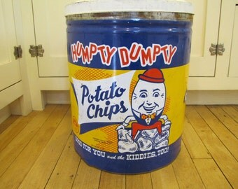 Humpty Dumpty Potato Chips Tin, Humpty Dumpty Potato Chips, Humpty Dumpty, Vintage Tin, Large Tin Can, Potato Chips, Advertising