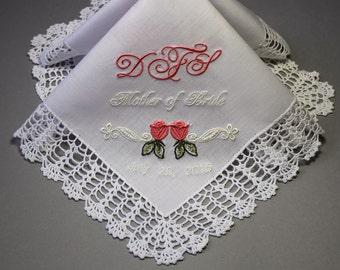 Wedding Handkerchief Embroidered to Bridemaids Flower Girl Monogrammed Personalized Custom