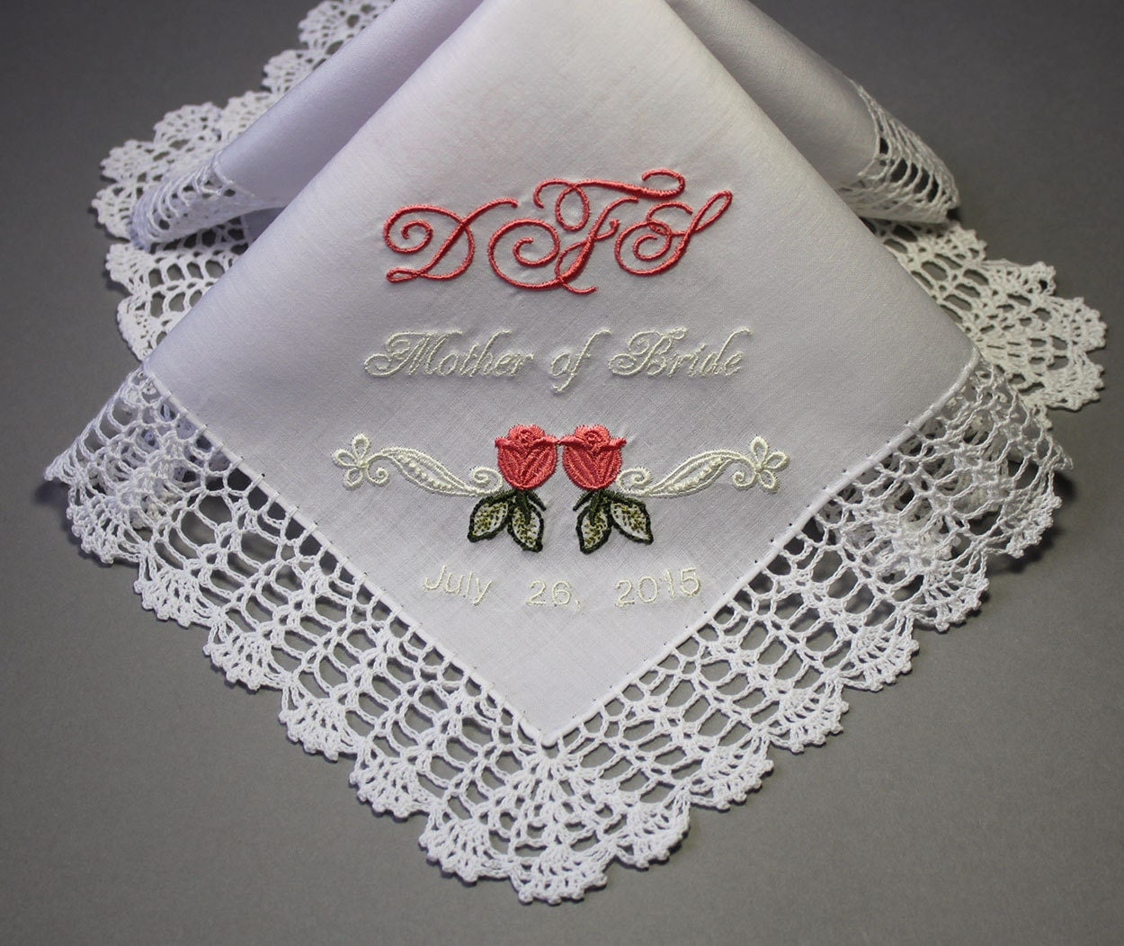 Wedding Handkerchief Embroidered To Bridemaids Flower Girl