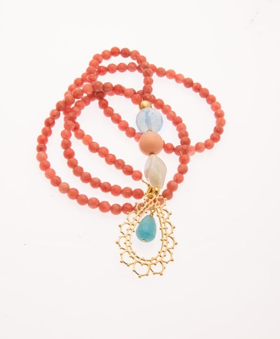 charm necklace coral beaded necklace by lizaslittlethings