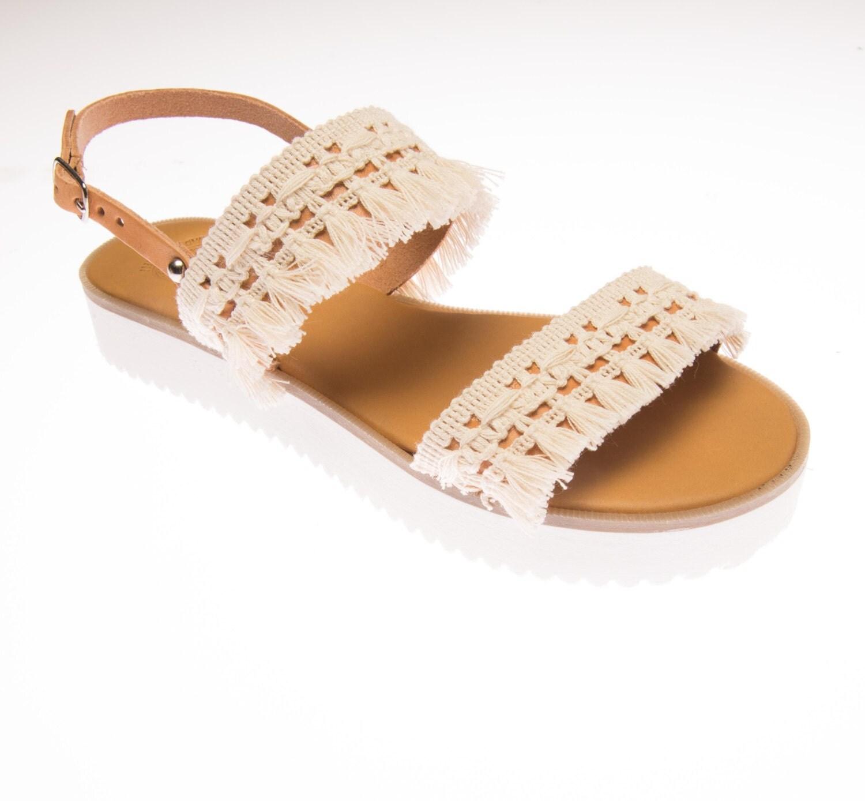 Bridal Shoes Boho: White Bohemian Sandals. Wedding Shoes. Bridal Leather
