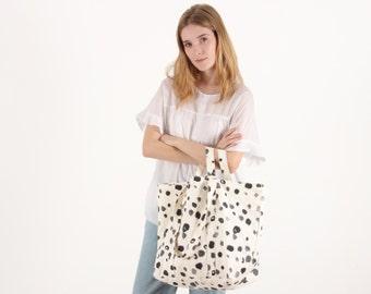 Carryall Market Tote - Spots, Everyday Canvas Bag, Market Tote Bag