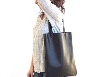 Black Leather Handbag, Leather Tote Bag, Black Leather Shoulder Bag