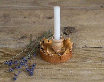 Vintage Swedish Handmade Birch Bark Candle Holder, Rustic Kitchen, Countryside Decor