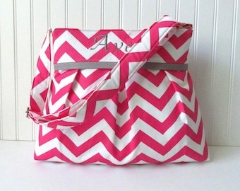 Personalized Pink Chevron Diaper Bag in Gray Dots for Baby Girl with Monogramming