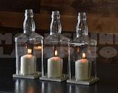 Whiskey Bottle Glass Hurricane Candle Centerpiece