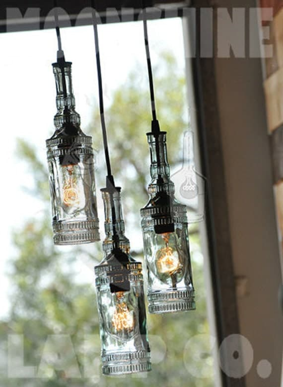 Items similar to the parisian recycled glass bottle chandelier on etsy - Glass bottle chandelier ...