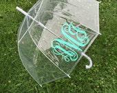 Monogrammed Umbrella Personalized Umbrella Clear Dome Umbrella Personalized Gift Bride to Be Wedding Day Umbrella Bridesmaid