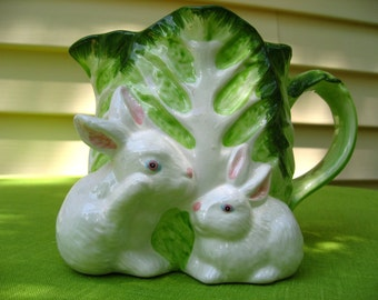 cabbage leaf and  rabbits bunny bunnies vase three white flower vase