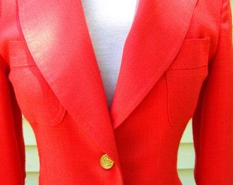Orange mango vintage blazer linen size 5 fitted gold 3 button Bronson of California
