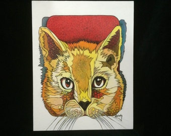 Cat face, 11 by 14, print, Cat, Mahosky, Giclee