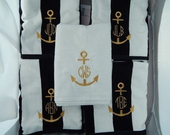 Monogrammed Beach towels, Personalized Towels, Embroidered Pool or Cabana Towels, Anchor Beach Towels, Personalized Gifts