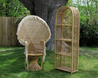 Free Greyhound SHIPPING Wicker & Bamboo Furniture - 1970s Peacock Chair - OR - Arched Shelving Unit - Livingroom, Bedroom Furniture Decor