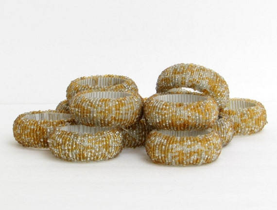 gold and silver seed bead napkin rings set of 12 by dayjahview