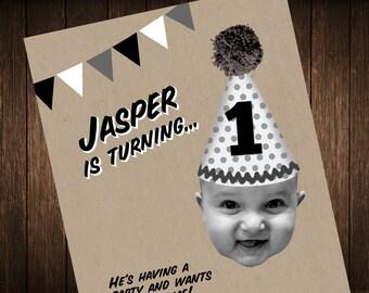 Printable 1st Birthday Invitation in Black and White
