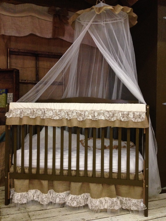Burlap lace crib bedding for Burlap and lace bedroom