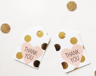 Gold Foil and Pink thank you tags - pack of 20, optional party bags