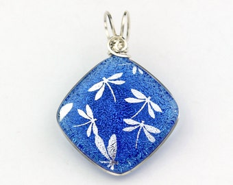 Sterling Silver Wire Wrapped Dichroic Glass Pendant, Sapphire Blue with Silver Dragonflies