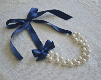 Abigail: Double / Two Strand Linked Pearl Necklace - Ivory Pearls with Navy Blue Ribbon & Bow