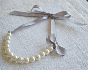 Matilda: Beautiful Large Ivory Pearl Necklace with Gray Ribbon Tie - Bridesmaids