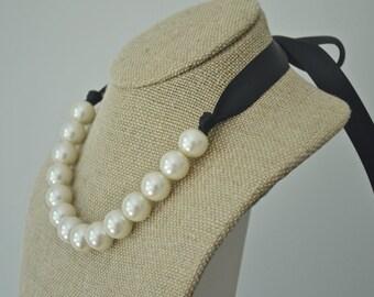 Elizabeth: Large Ivory Pearl Necklace with Black Ribbon Tie - Bride or Bridesmaid